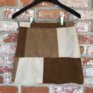 Hollister color block tan vegan faux suede skirt